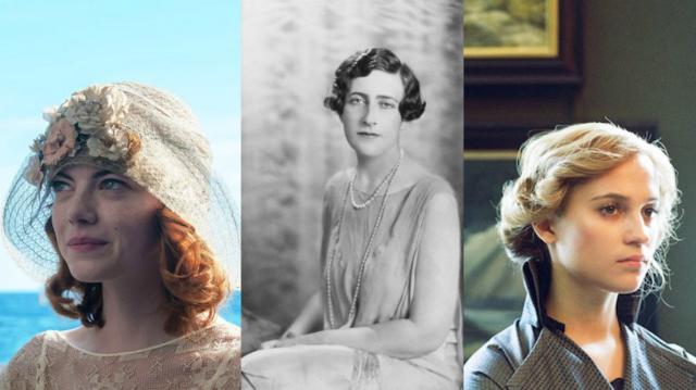 Na montagem: Agatha Christie (ao meio) e as atrizes Emma Stone (esq.) e Alicia Vikander (dir.)